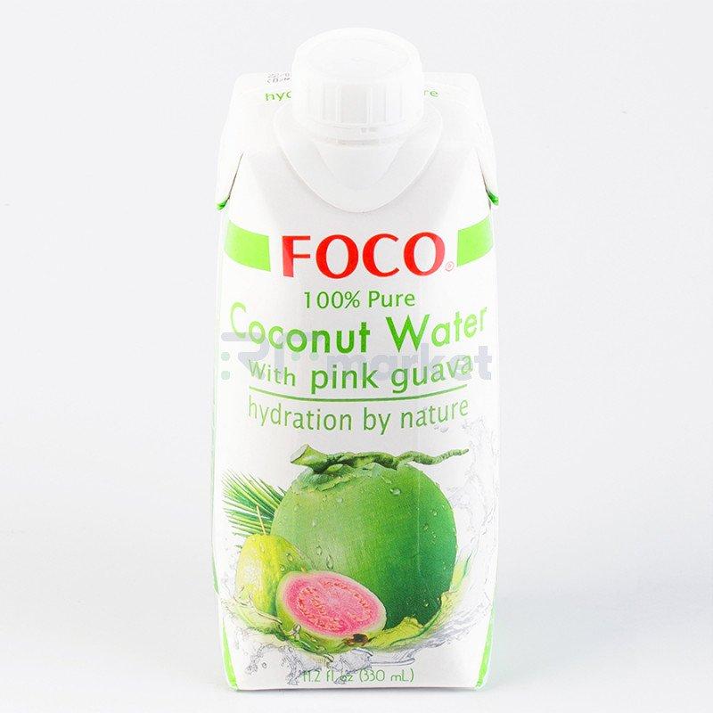 """Кокосовая вода с розовой гуавой """"FOCO""""  330 мл Tetra Pak 100% натуральный напиток, БЕЗ САХАРА"""
