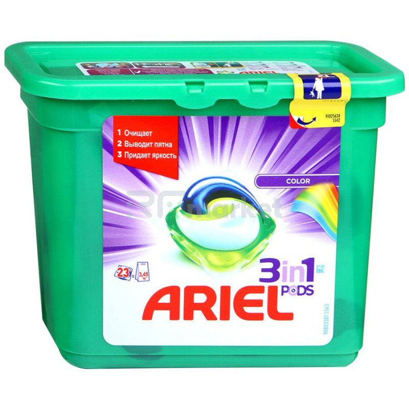 Капсулы для стирки Ariel Pods Color&Style 3 в 1 23 штуки