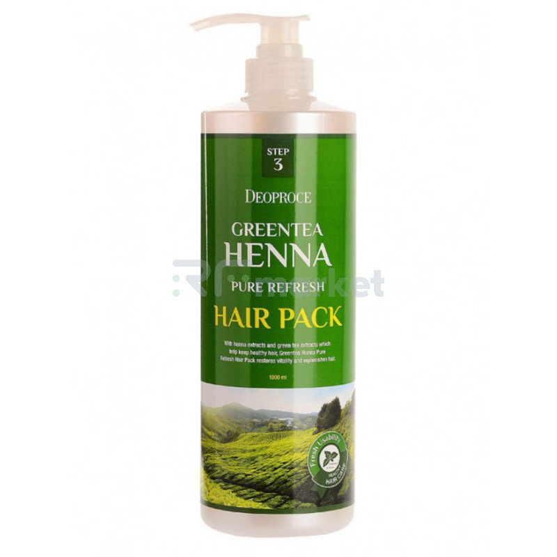 Маска для волос с зеленым чаем и хной. DEOPROCE GREENTEA HENNA PURE REFRESH HAIR PACK 1000 мл.«GREENCOS»