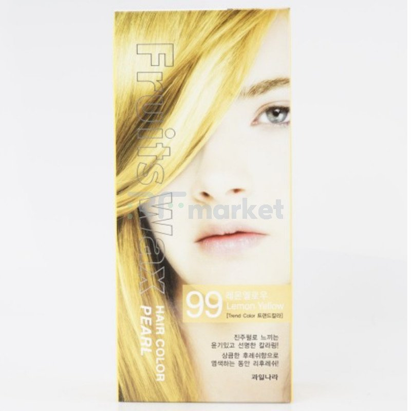 Краска для волос на фруктовой основе. Fruits Wax Pearl Hair Color #99 60 мл.*60 гр.«Welcos Co., LTD. »