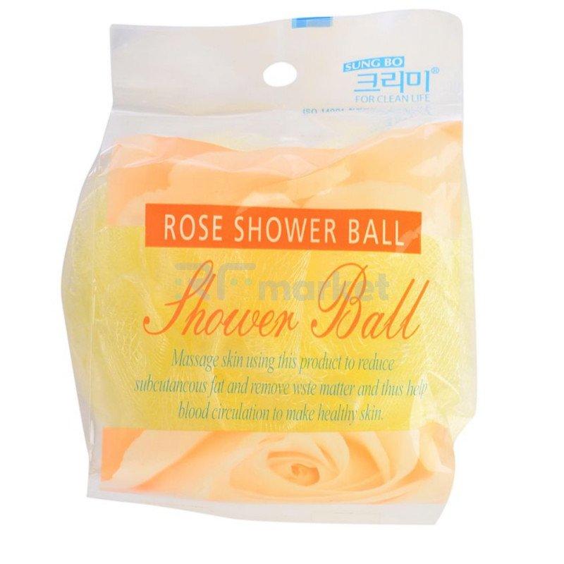 CLEAN&BEAUTY Мочалка для душа Flower ball rose shower ball 1шт«Sung Bo Cleamy Co., Ltd.»
