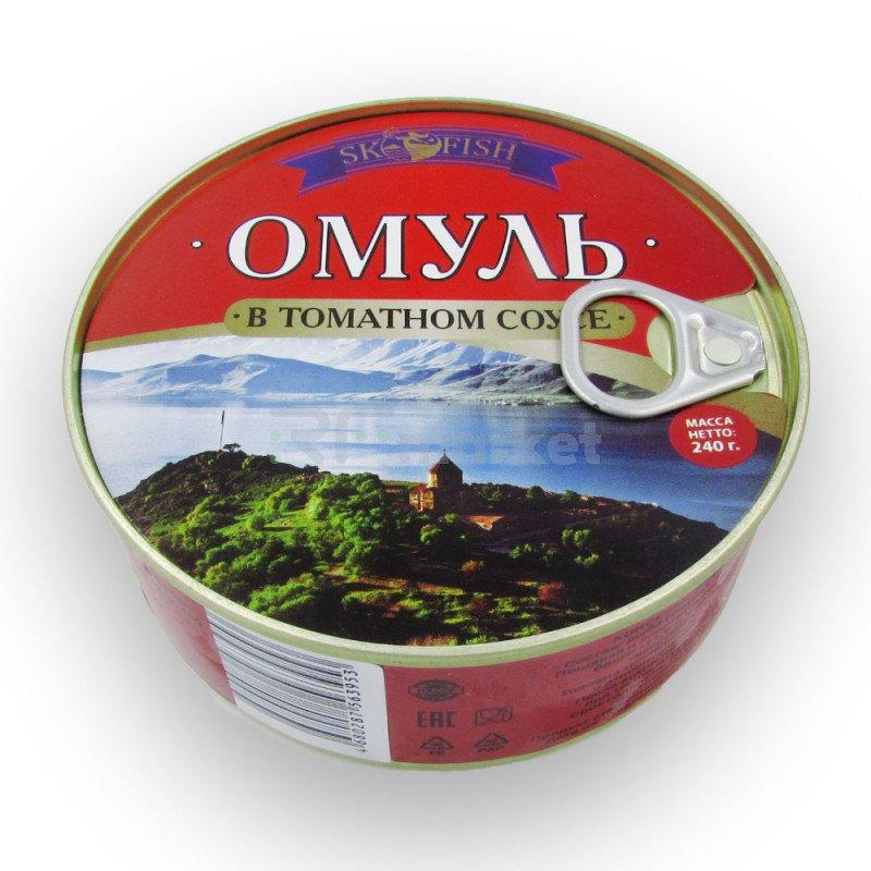 Омуль в томатном соусе , 240 гр.