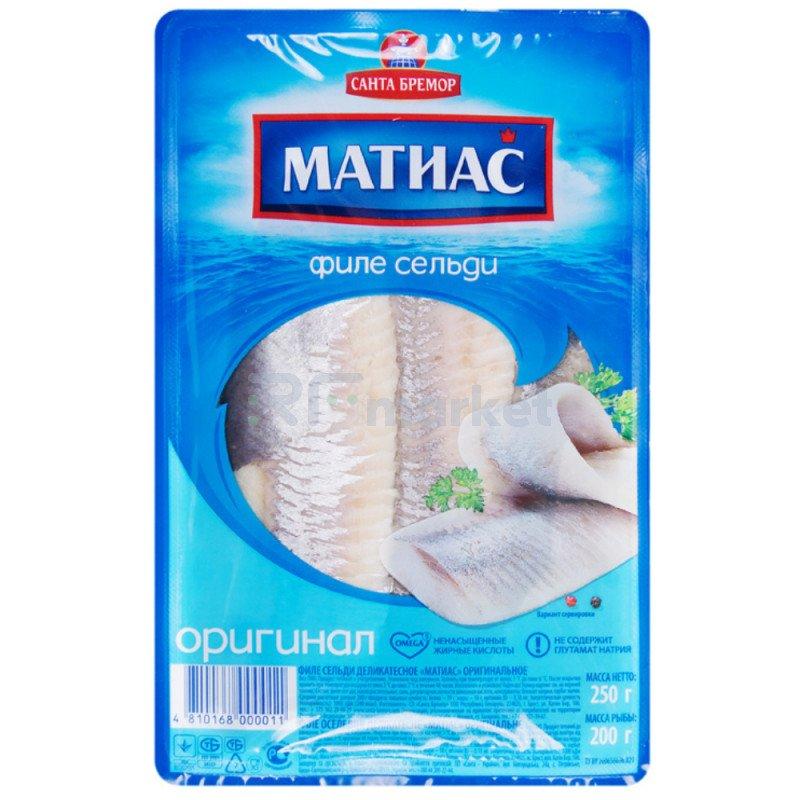 "Филе сельди деликатесное ""Матиас"" оригинал, 250 гр."