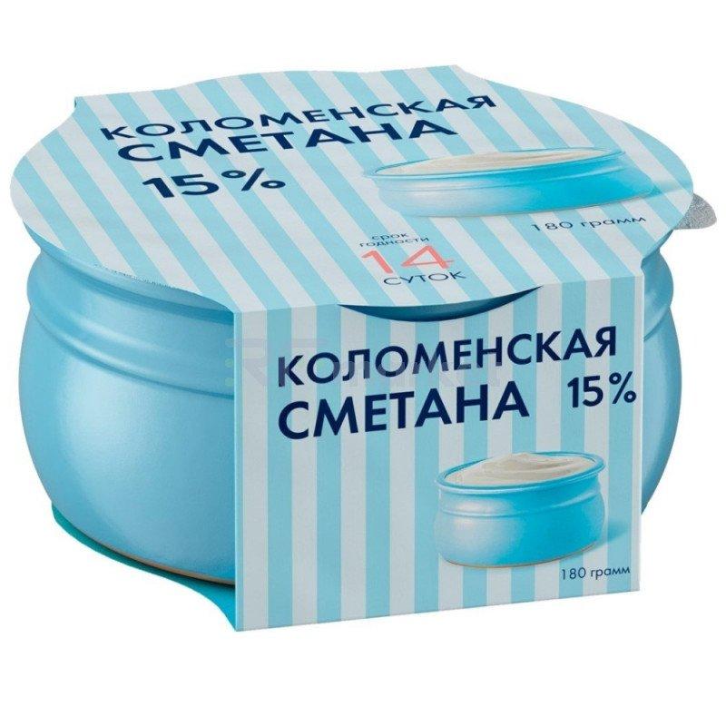 """Сметана """"Коломенская"""" термостатная мдж 15 %, 180 гр."""