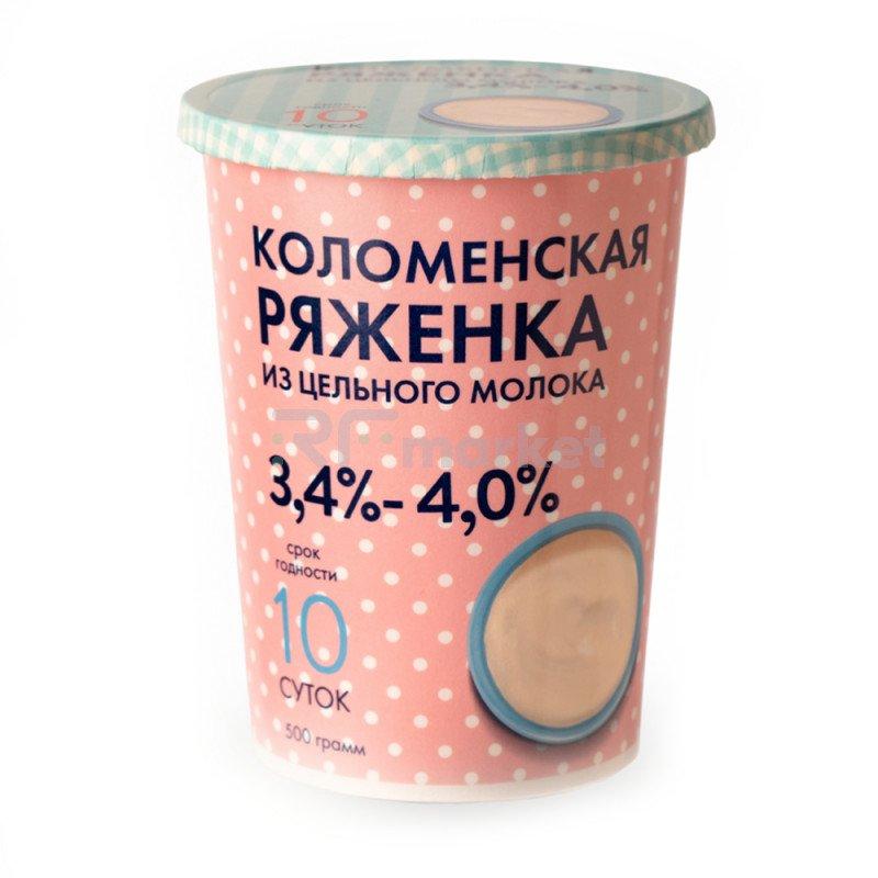 """Ряженка натуральная """"Коломенская"""" 3,4-4,0%, 500гр."""