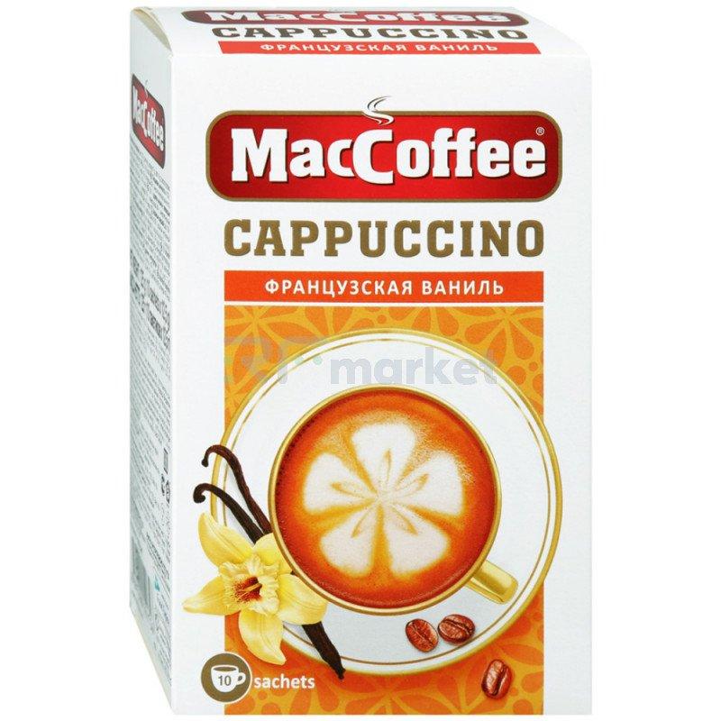 """Напиток """"MacCoffee"""" Капучино кофейный, порционный, растворимый 3 в 1 ,10 пакетиков по 12.5 г"""