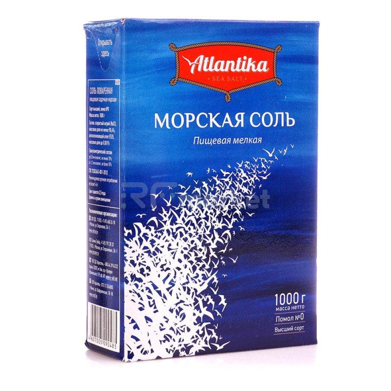 """Соль морская, мелкая """"Атлантика"""", 1000гр"""