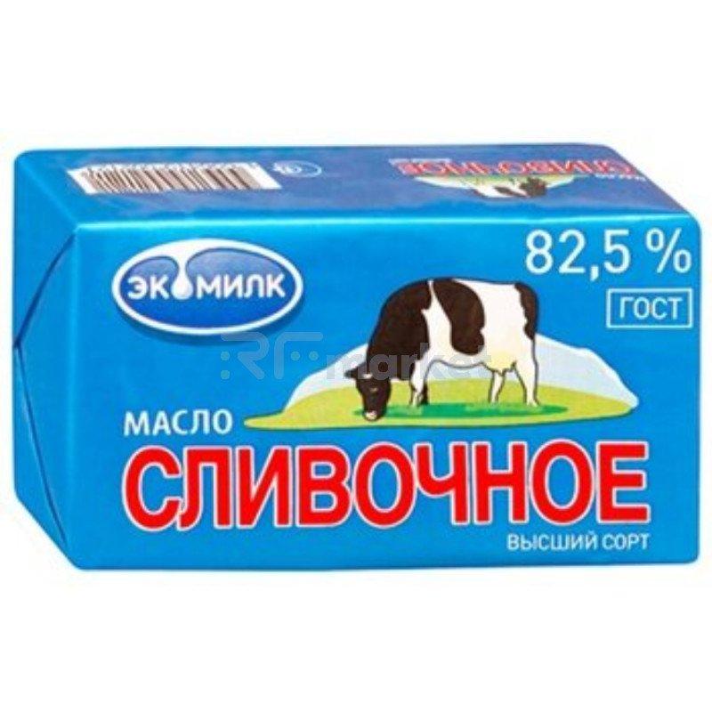 """Масло сливочное """"ЭКОМИЛК"""" 82,5%, 450г БЗМЖ"""