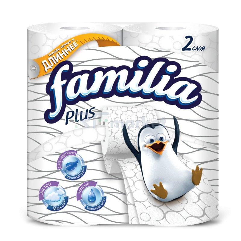 """Туалетная бумага """"Familia Plus"""" 2-хслойная, белая, 4рулона."""
