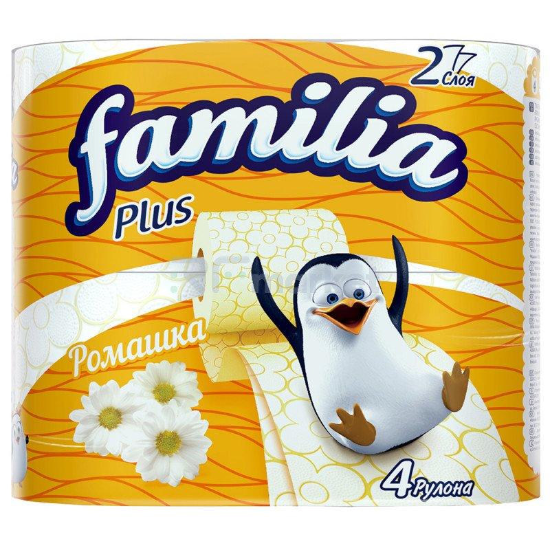 "Туалетная бумага ""Familia Plus"" 2-хслойная, Ромашка, 4 рулона"